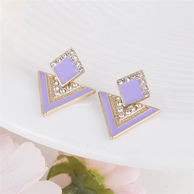 Hot Sale Brincos Colorful Enamel Rhinestone Party Earring Geometric Drop Triangle Earrings for Women Fashion Accessories Jewelry 2