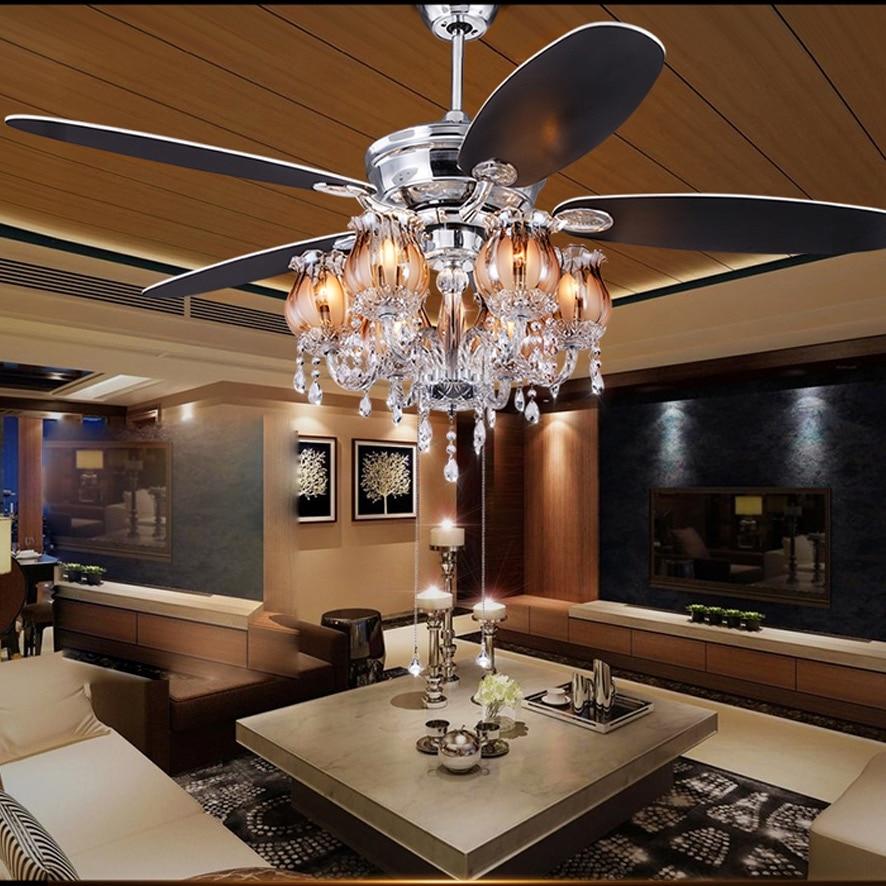 LED Nordic Iron Crystal Ceiling Fan.LED Lamp.LED Light ...
