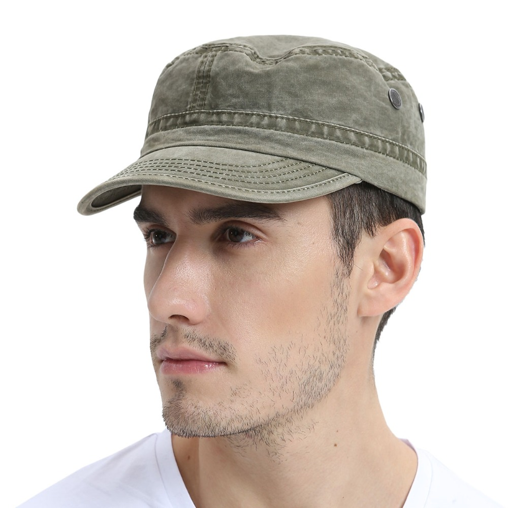VOBOOM Men Military Hat Summer Spring Autumn Fall Washed Cotton Army Green Cap Adjustable Captain Hats 162