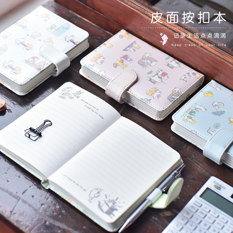 4pcs PU Leather Cover Planner Notebook Cat Travel Journal Diary Book Exercise Composition Binding Note Notepad Gift Stationery