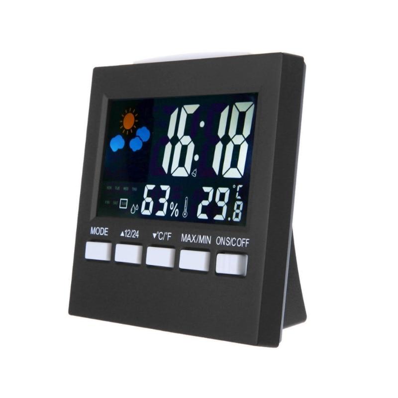 Affichage numérique Thermomètre Humidité Horloge Coloré LCD Alarme Calendrier Météo
