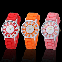 Women's Fashion Round Dial Soft Silicone Strap Casual Quartz Analog Wrist Watch