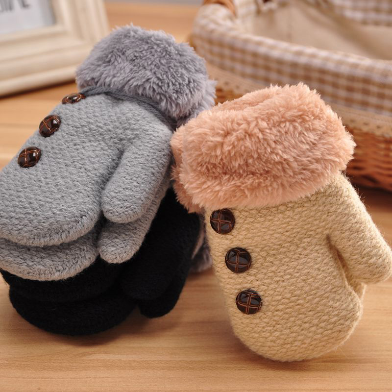 Kids Boys Girls Winter Thick Gloves Double Layer Cotton Glove Full Finger Hand Warmer Leaf Rope Button Ski Mittens