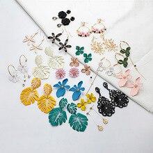 Fashion Womens Simple Korean Style Earrings Beautiful Flower Bohemian Fringe Pendant Wholesale