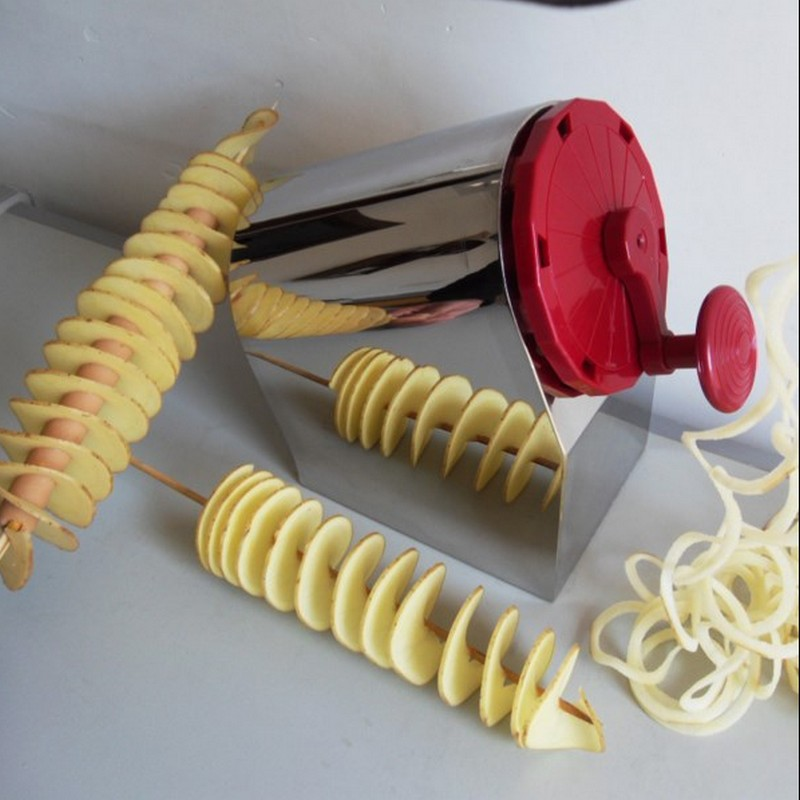 Mutifunctional Potato Cutter 3 in 1 Tornado Twist Potato Machine Spiral Potato Chipper Potato Cutter Kitchen Tool freeshipping