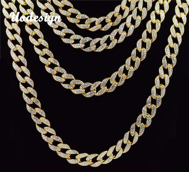 9545d4f4641 Uodesign Iced Out Bling Rhinestone Crystal Goldgen Finish Miami Cuban Link  Chain Men s Hip hop Necklace