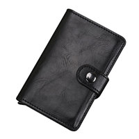Automatic Crazy Horse Leather Credit Card Holder Man Aluminum Alloy Hasp Business ID Multifunction Card Holders