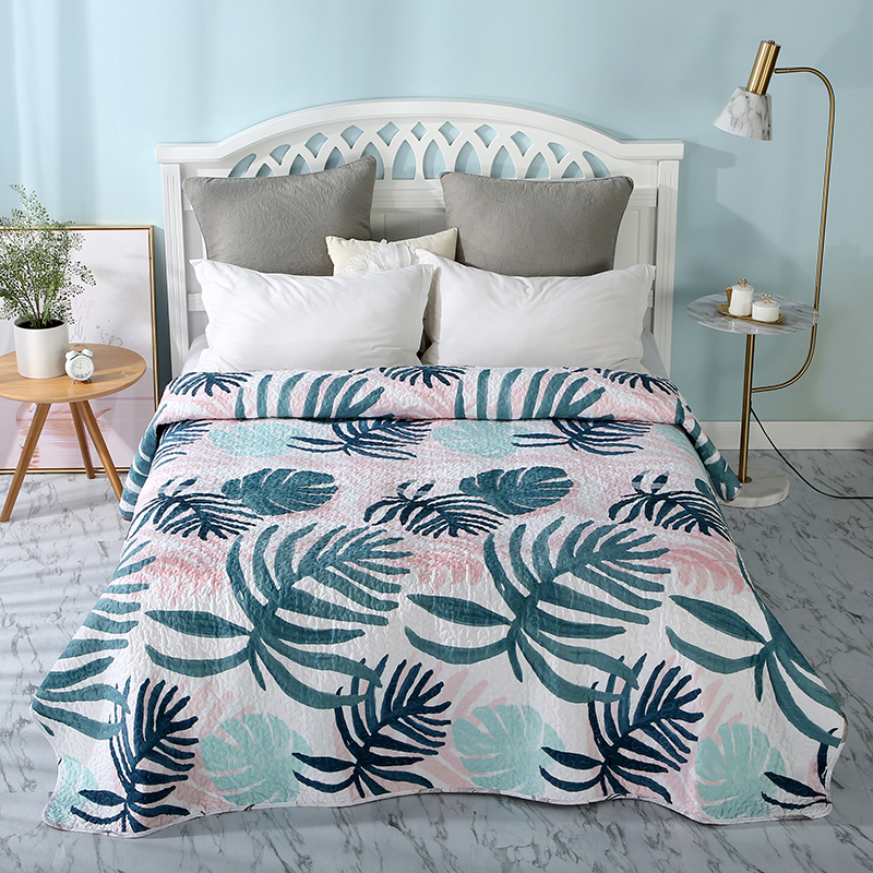 Floral Cotton Polyester Bedspread Quilt 1piece Print Coverlet Quilted Kids Quilts Aircondition Bed Cover Sofa Blanket #sw