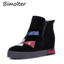 Bimolter Cow Suede Height Increasing Boots For Women 3cm Platform Genuine Leather Boots Appliques Round Toe Shoes Female NC027 цена