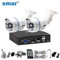 Smar 4CH 1080N 5 в 1 AHD DVR комплект системы видеонаблюдения 2 шт. 720 P/1080 P IR AHD Camera Открытый водонепроницаемый день и камера наблюдения ночного видения ...
