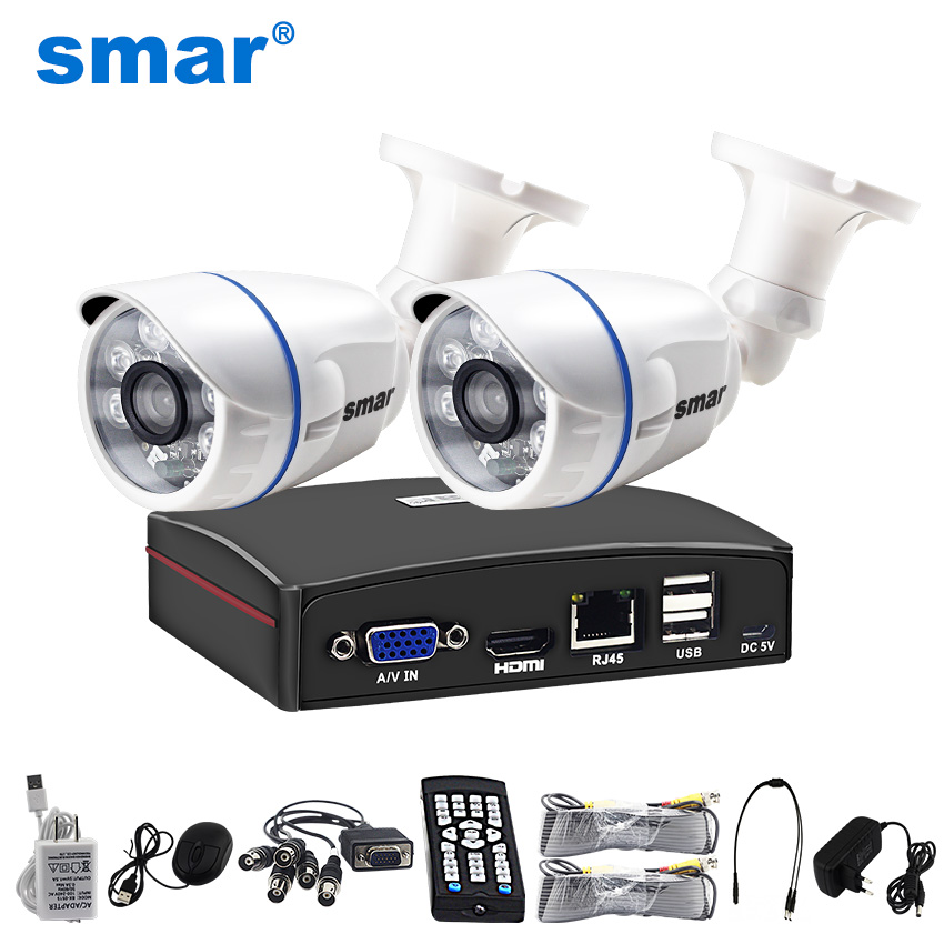 Smar 4CH 1080N 5 In 1 AHD DVR Kit CCTV System 2PCS 720P/1080P IR AHD Camera Outdoor Waterproof Day & Night Security Camera Kit