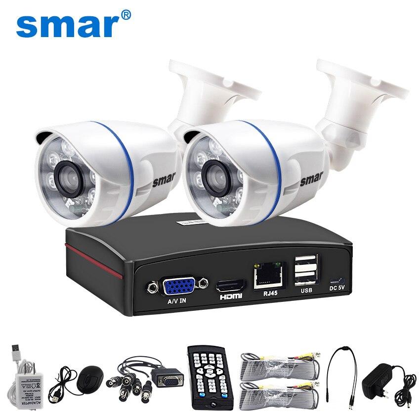 Smar 4CH 1080N 5 в 1 AHD DVR комплект видеонаблюдения Системы 2 шт. 720 P/1080 P IR AHD camera открытый Водонепроницаемый Day & Night безопасности Камера комплект