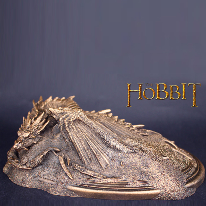 LOTR The Hobbit The Desolation of Smaug Dragon Resin Statue Kawaii Christmas Sculpture Free With Ring