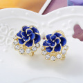 Women's Fashion Clip on Earrings Korean Jewelry Accessory Diy Earrings Clip for Girls Flower Shape Friendship Cocktail Ear