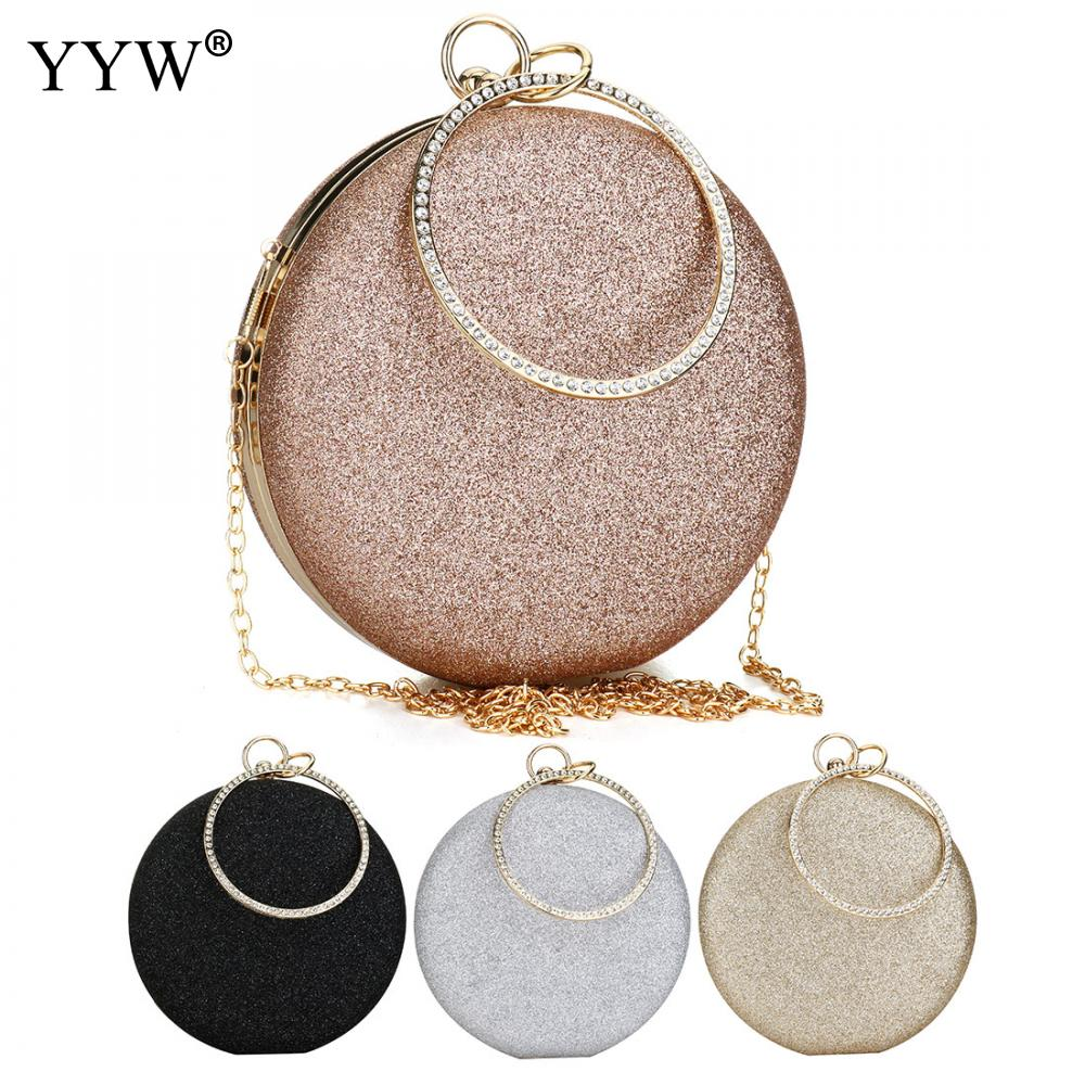 Women Wedding Evening Clutch Round Bag Purses Handbags Crossbody Party Shoulder Bags Clutch Rose Gold Gillter Handbag-in Top-Handle Bags from Luggage & Bags