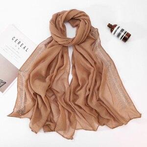 Image 5 - Écharpe Hijab en coton doux et Viscose pour femmes, avec diamant, perles unies, écharpe Hijab, châle, Hijab