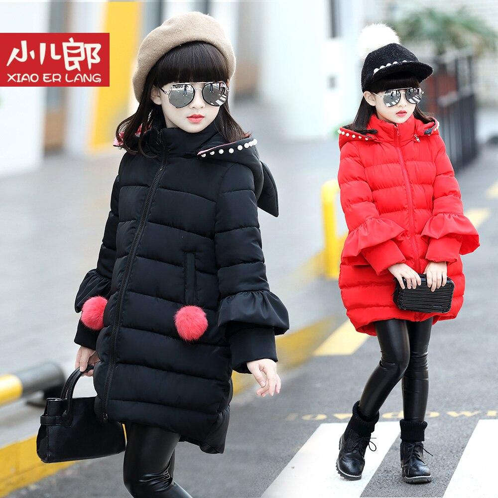 Детская верхняя одежда 2017 Зимние новые модные пальто красного цвета пальто милый черный с капюшоном Мужские парки для 4 От 5 до 15 лет для дево...