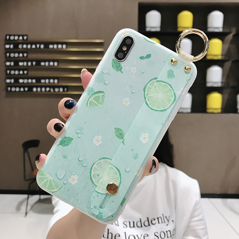 SoCouple Wrist Strap Phone Case For iphone Xs max Case For iphone X Xs XR 6 6S 7 8 plus Fruit Lemon Pattern Soft TPU Case Cover (13)