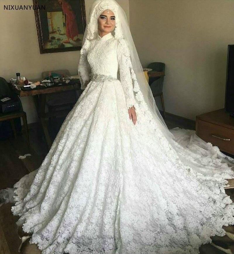 Saudi Arabia Turkey Women Ball Gown Hand Made Long Sleeve Wedding Gown Lace Muslim Wedding Dress Bridal Dress Vestido De Noiva