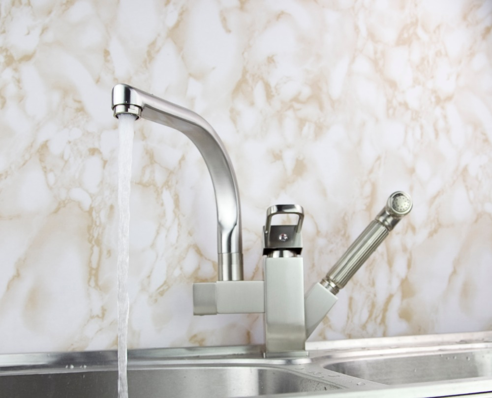 Pull Out And Down Brushed Nickel Finish Solid Brass Kitchen Faucet Sink Mixer Tap Vessel Faucet L-201 luxury led light pull down spray double spouts kitchen sink faucet brushed nickel finish