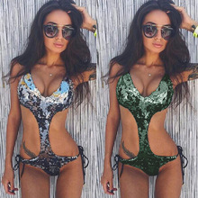 Push-Up Padded Sequined Monokini Swimsuit