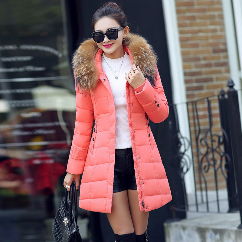 2017 New Winter Fashion Parkas Hooded Fur Collar Jacket Bow Cotton Padded Long Warm Thick Coat Slim Female Outwears 2017 winter new coat womens long slim hooded large fur collar thick cotton warm jacket for female zipper pattern epaulet padded