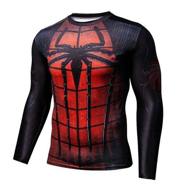 Camisa De Compressão Homens Fitness Musculação Superman Avengers Spiderman  Manga Comprida 3D Impresso T-Shirt cffe32061f595