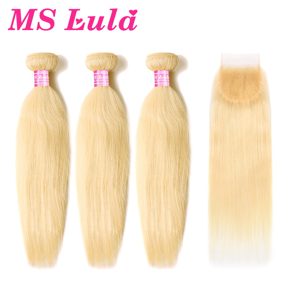 MS Lula Hair Blonde Brazilian Color 613 Straight Weave 3 Bundles With 4X4 Closure Human Remy Bundles Hair Extensions Blonde Hair