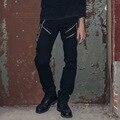 Hombres Pantalones Largos Ocasionales de La Cintura Baja hombres punk pants Hip Hop de Moda Masculina Pantalones Slim Fit Calle Pantalones Casuales Negros