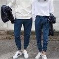 2015 Pantalones jeans de Moda Para Las Mujeres de Cintura Elástica Denim Lápiz Pantalones Azul Harem Pantalones Con Bolsillos Sólido P8053