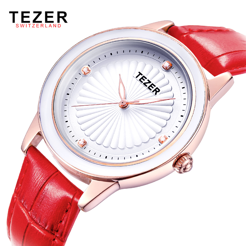 TEZER Luxury Fashion Women font b Watch b font Women Leather Quartz Wristwatch Ladies Dress font