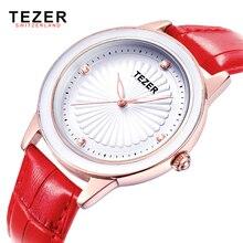 TEZER Reloj de Las Mujeres de Cuero de Las Mujeres de Moda de Lujo relojes de Cuarzo Reloj de Pulsera de Las Señoras Vestido Reloj Mujer Montre Femme T3053
