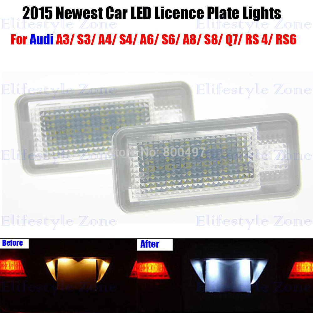 2 x  LED Number License Plate Lamps OBC Error Free 18 LED For Audi A3 S3 A4 S4 RS4 A6 C5 S6 A8 C8 S8 S8 Q7 2 x led number license plate lamps obc error free 24 led for bmw e39 e80 e82 e90 e91 e92 e60 e61 e70 e71