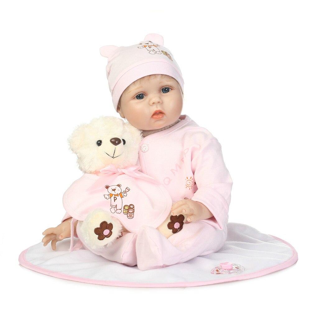 Bambole in silicone reborn 22 55 cm bebe alive rinascere bonecas con lorso peluche moda bambola bambole giocattolo per bambino regalo bonecasBambole in silicone reborn 22 55 cm bebe alive rinascere bonecas con lorso peluche moda bambola bambole giocattolo per bambino regalo bonecas