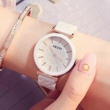 Kezzi marca superior relogio feminino cerâmica relógios de pulso concha strass senhoras pulseira relógio quartzo à prova dwaterproof água