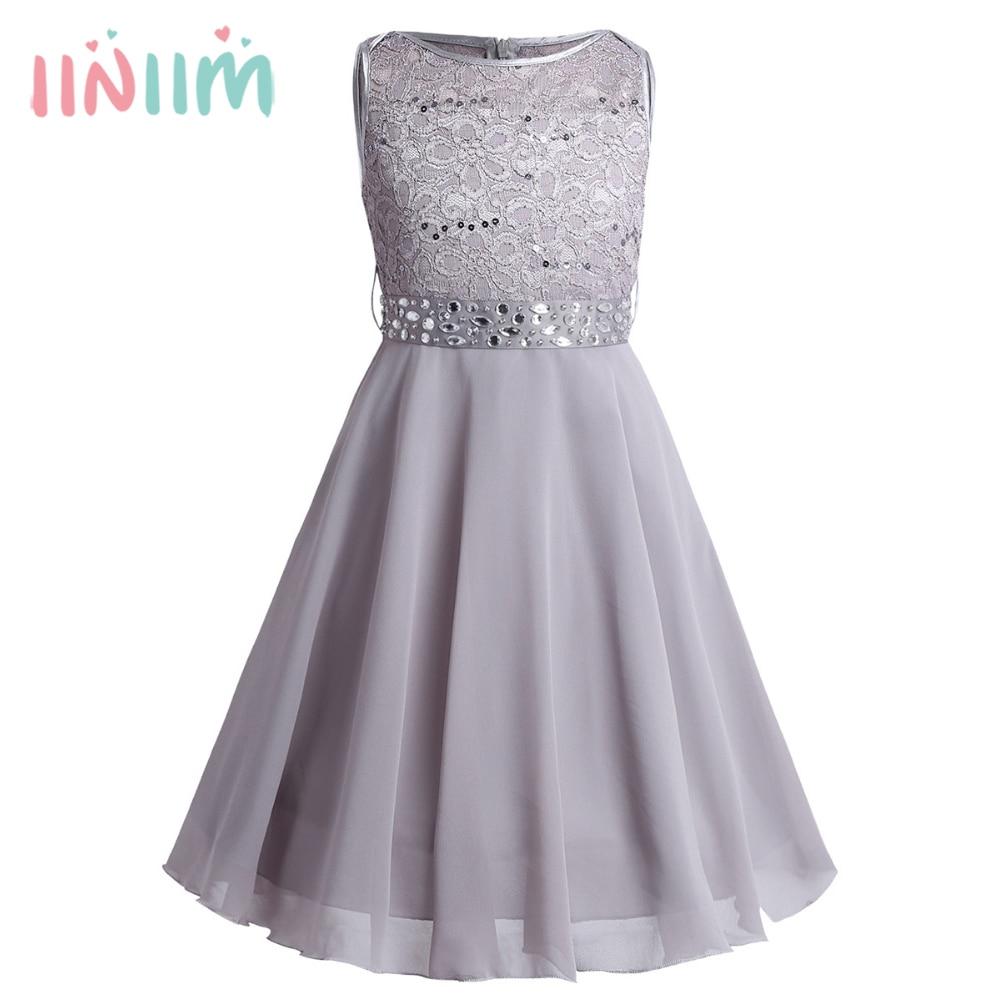Iiniim Girls Sequined Floral Lace Chiffon Dress Princess Formal Brides Wedding Birthday Party Dress First Communion Tutu Dress