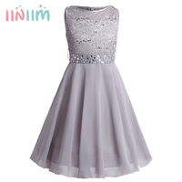 Girls Sequined Floral Lace Chiffon Dress Princess Formal Bridesmaid Wedding Birthday Party Dress First Communion Tutu
