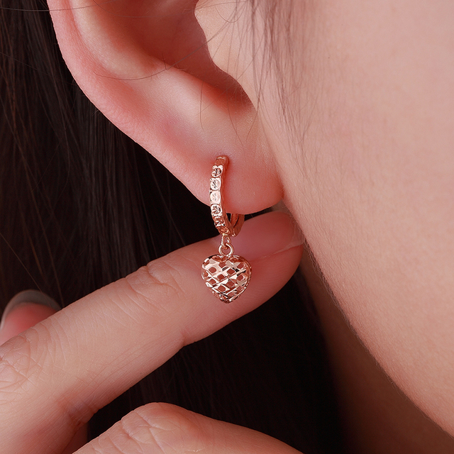 18K Pure Gold Earring Real AU 750 Solid Gold Earrings Good Beautiful Heart Upscale Trendy Classic Fine Jewelry Hot Sell New 2020 5
