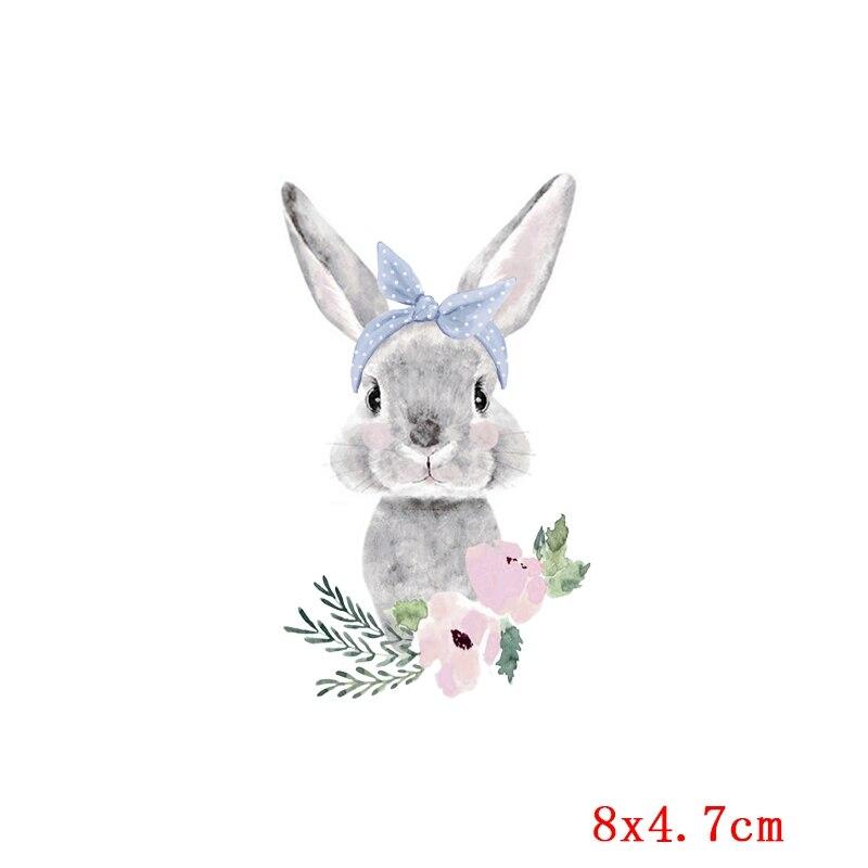 Prajna милый кролик патч теплопередача Винил утюг на передачу для одежды мультфильм значок глажка наклейки аппликация уровень - Цвет: Бежевый