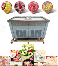 2 pan 11 tank Ice cream fryer machine computer control Ice Cream Roller rolling Roll Flat fried ice cream machine with light box
