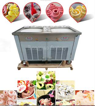 45CM * 2 pan 11 tank Ice cream fryer machine computer control Roller Flat fried ice cream machine light box rolling Roll 110v ice cream roll machine square pan with fry ice cream machine free ship by sea
