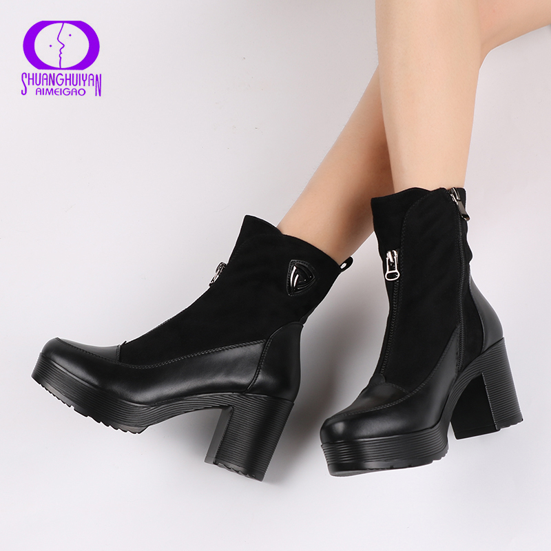 Hot Sale Suede Leather Boots Soft Leather Women Ankle Boots Thick High Heel Boots Sexy Women Platform Boots Autumn And Spring цена