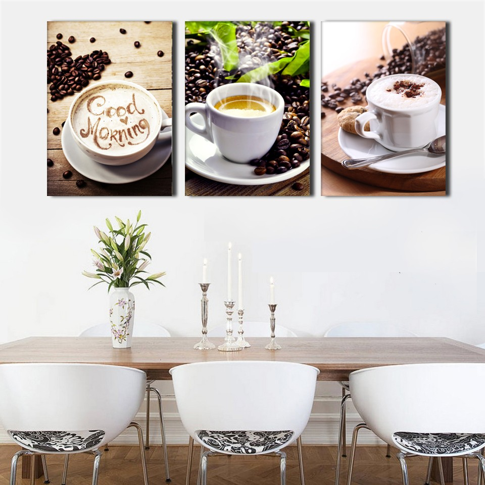 3 Piece Cup Of Coffee Cacao Modern Wall Painting Home