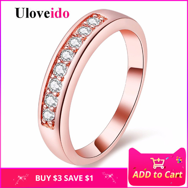 Uloveido Fianit Wedding Rings for Women Crystal Ring Silver Bijoux Jewelry Anelli Donna Ringen New Year Gift Bijouterie J294
