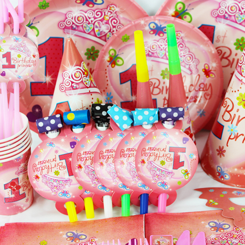 2015 New 78pcs Pretty Girl 1 Year Old Kids Boys Birthday Party Decorations Evnent Supplies Decoration CK 004