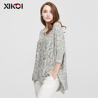 New High Quality Women S Sweaters Fashion Batwing Sleeve Sectional Dyeing O Neck Pullovers Flat Knitted
