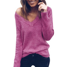 Women Sweater Knited Sexy tops cleavage Pullover Shirt Clothes Lady Female Tricot Bottom Knitwear Chaqueta Topi Purple Black(China)