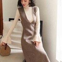 Женское платье свитер зимний шерстяной женский длинный джемпер теплые вязаные платья корейский стиль зимние платья женские 2018 AA4295