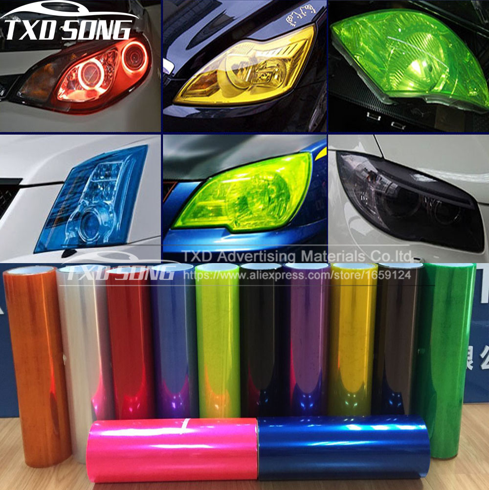 TXDSONG Wholesales 12 Colors 8 Rolls Size:30cm*9m/roll Auto Car Light Headlight Taillight Tint Vinyl Film Sticker Free Shipping