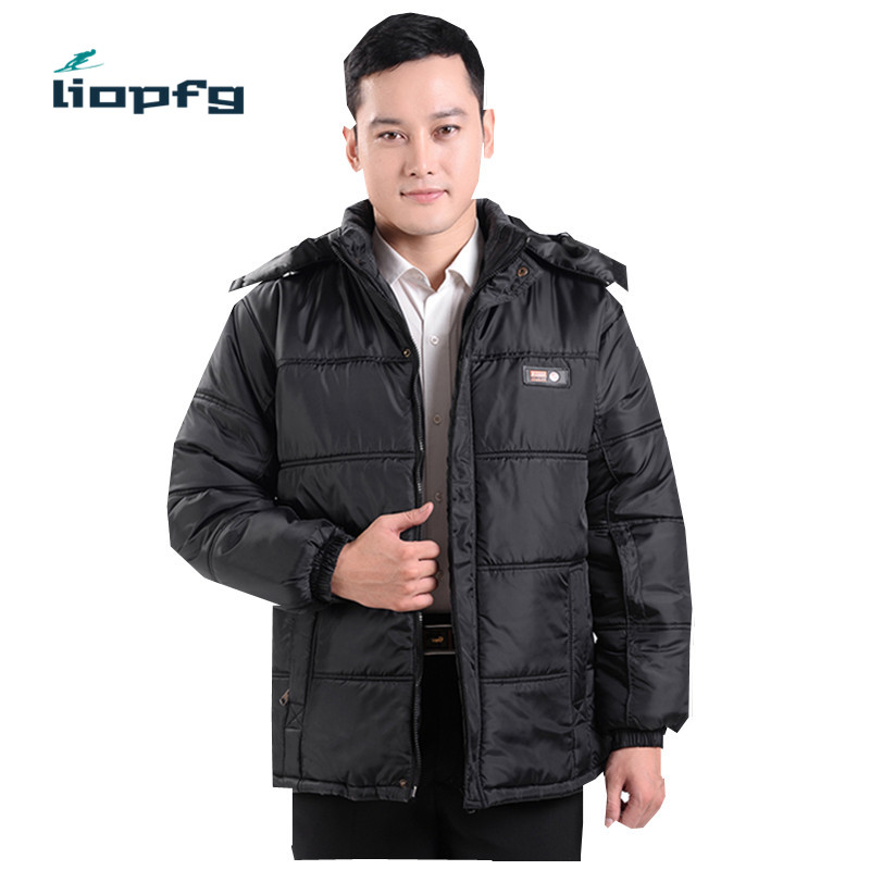 2017 Winter middle aged men cotton large size hooded thickening men cotton jacket elderly loose and